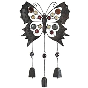 Metal and Gems Wind Chime - Butterfly with Dangling Bells - Height 24 inches