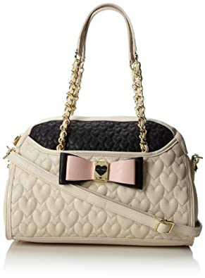 Betsey Johnson Be My Honey Buns Dome Satchel Top Handle Bag,Cream,One Size