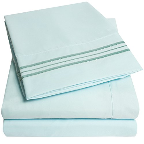 1500 Supreme Collection Bed Sheets - PREMIUM QUALITY BED SHEET SET & LOWEST PRICE, SINCE 2012 - Deep Pocket Wrinkle Free Hypoallergenic Bedding - Over 40+ Colors & Prints - 3 Piece, Twin, Light Blue (Twin Light Blue Bedding compare prices)