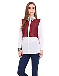 Blink White And Wine Coloured Georgette Shirt Medium