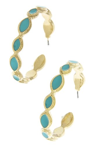 TRENDY FASHION FLAT OVAL HOOP EARRINGS BY FASHION DESTINATION | (Turquoise)
