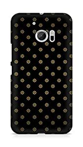 Amez designer printed 3d premium high quality back case cover for Htc One M10 (Golden flowers pattern)