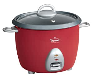Rival RC61 3-Cup uncooked resulting in 6-Cup cooked Rice Cooker, Red