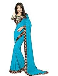 RadadiyaTRD Women's Georgette Saree (Sky Blue Rose_Sky Blue_Free Size)