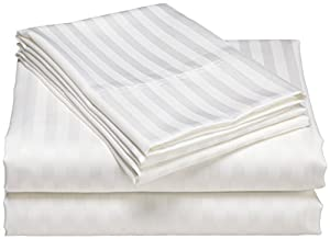 1500 Thread Count Egyptian Quality DOBBY STRIPE Duvet Cover Set, 3pc Luxury Soft, All Sizes & Colors, (Full/ Queen, White)