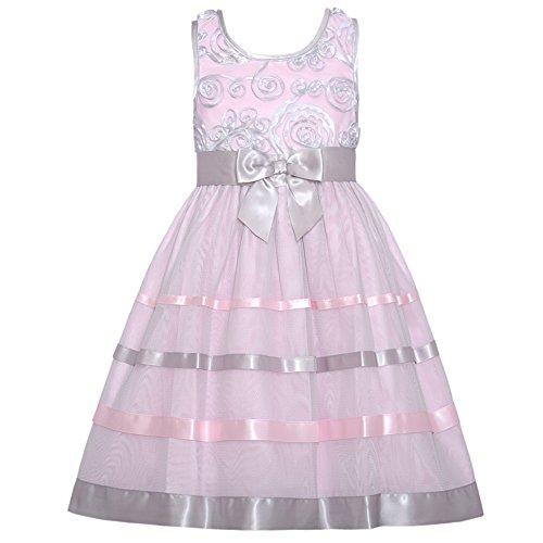 Bonnie Baby-Girls Newborn Organza Ribbon Trim Dress, Pink, 3-6 Months front-949350