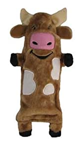 Kyjen Plush Puppies Cow Water Bottle Buddy Dog Toy
