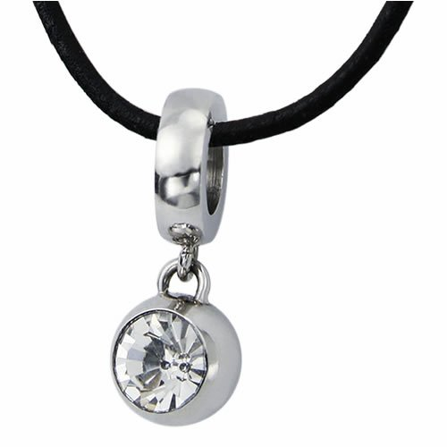 Stainless Steel Sphere Shaped Pendant with CZ (Stainless Steel Chain Included)