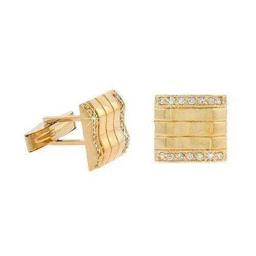 Vermeil (24K Gold Over Sterling Silver) Simulated CZ Wave Cuff Links Cufflink