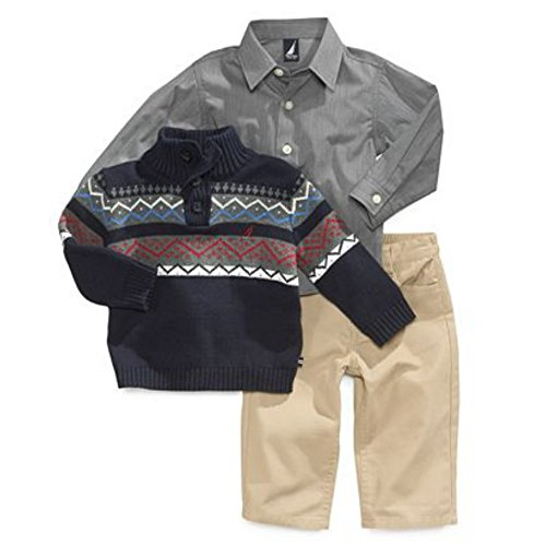 Nautica Infant Boys 3 Piece Dress Up Outfit Khaki Pants Shirt & Blue Sweater