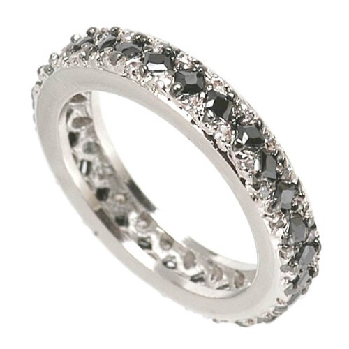 Eternity Band with Black & Clear CZ