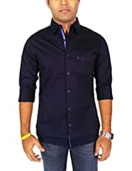 AA' Southbay Men's Bottle Blue 100% Cotton Lycra Solid Slim Fit Casual Party Shirt
