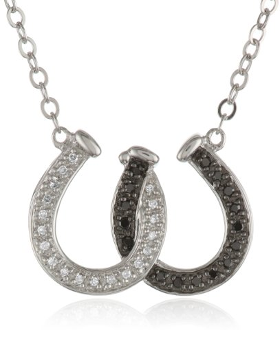 XPY Sterling Silver Black and White Diamond Double
