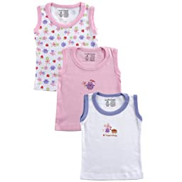 Luvable Friends Sleeveless Tee Tops, 3 Pack, Pink, 3-6 months