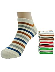 Milo Toe Men's 6-pack Light Color Stripe Low Cut Ankle Socks
