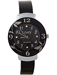 GATTS Glory Circular Dial Black Strap Dial Watch For Women-Black