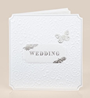 White Emboss Wedding Card