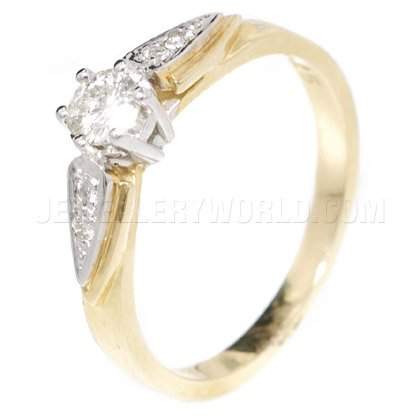 0.25ct Diamond 9ct Gold Engagement Ring with Raised Shoulders
