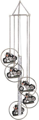 Wind Chime 5-Ring Polyresin Charm Motorcycle Hanging Garden Decoration