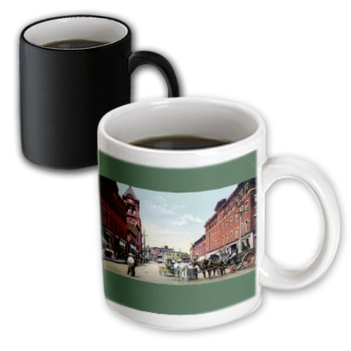 Bln Vintage Us Cities And States Postcards - Vintage City Street Scene With Clock Tower, Horses And Wagons - 11Oz Magic Transforming Mug (Mug_170757_3)