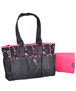 graco priscilla diaper tote bag black pink one si. Black Bedroom Furniture Sets. Home Design Ideas