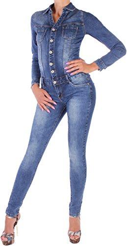 BD Damen Overall Jeans langarm Jumpsuit Röhre in blau