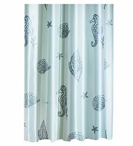 Spirella Poseidon Silver Satin Textile Polyester Shower Curtain 240 X 180 Cm