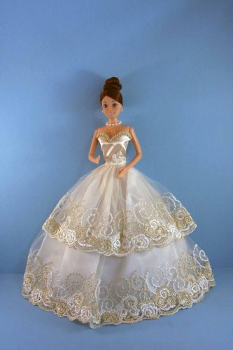 Gold and Ivory strapless Ball Gown Made for the Barbie Doll