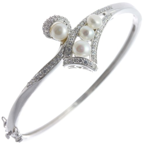 Classical 925 Sterling Silver Ladies Bangle with Cubic Zirconia/CZ, Pearl - 6cm*3mm, 14 Grams