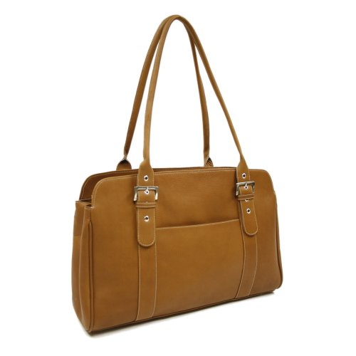 Piel Leather Ladies Buckle Business Tote, Saddle, One Size