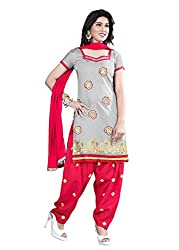 Blissta Grey Chanderi Embroidered Unstitched Dress Material