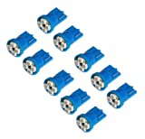 Cutequeen 10pcs LED Car Lights Bulb Blue T10 3528 4-smd 194 168 (Pack of 10)