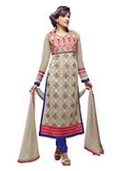 London Beauty Grey-Blue Semi-stitched Georgette Straight Suit