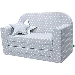 LULANDO Classic Kindersofa Kindercouch Kindersessel Sofa Bettfunktion Kindermöbel zum Schlafen und Spielen Sternchen Grau