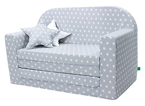 LULANDO-Classic-Kindersofa-Kindercouch-Kindersessel-Sofa-Bettfunktion-Kindermbel-zum-Schlafen-und-Spielen-Sternchen-Grau