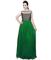 Clickedia Women & Girls Beautiful Green & Black Semi Stitched Net Gown