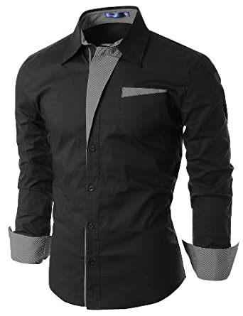 Doublju Mens Dress Shirt with Contrast Detail BLACK (US-XS)