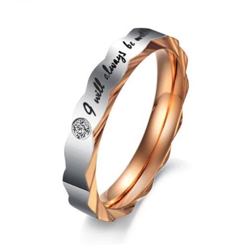 Stainless Steel Ring Love Words Crystal Golden Size 7 Width 3.5Mm Gj30A1Bg