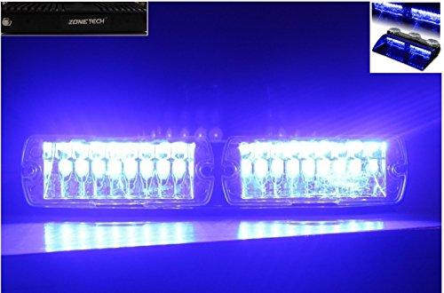 Zone Tech Car Emergency Vehicle Dash Warning Strobe Flash Light 16-Led 18 Flashing Mode Blue