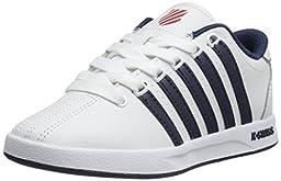 K-Swiss Court Pro PS Tennis Shoe (Little Kid),White/Navy/Fiery Red,11 M US Little Kid
