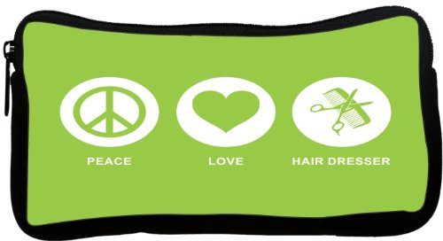 Rikki Knighttm Peace Love Hair Dresser Lime Green Color Neoprene Pencil Case front-623987