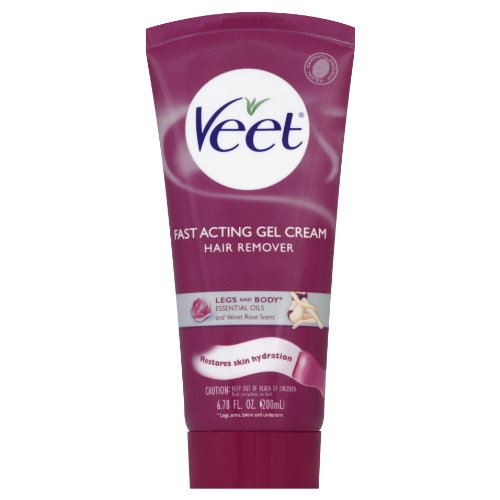 Veet Gel Cream Hair Remover With Essential Oils And Velvet Rose Scent, 6.78 Ounce (Pack of 6)