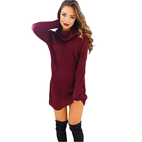 EKIMI Womens Long Sleeve Turtleneck Jumper Turtleneck Sweaters Coat Blouse (S)