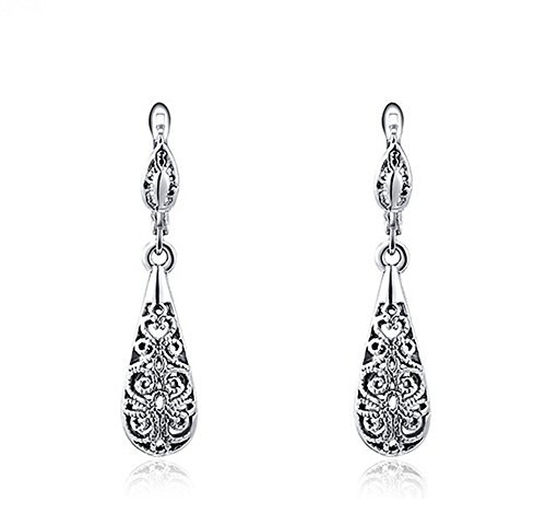 Vintage platinum blackening hollow out Teardrop Earrings for women (Vintage Rhinestone Earrings compare prices)
