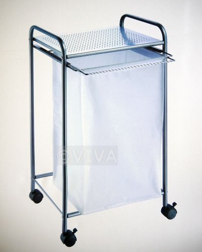 Canvas bag laundry basket bin mat silver frame shelf wheels clothes hamper