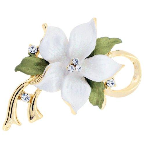 White Poinsettia Christmas Star Flower Swarovski Crystal Pin Brooch and Pendant
