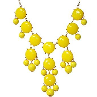 Bubble Statement Necklace, Chunky Bubble Necklace,Bubble Yellow Necklace(Fn0508-Yellow)