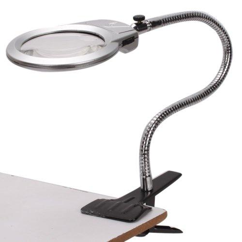 E-MART 2.5X 90mm / 5X 22mm Clip-on Clip on LED Light Lighted Tabletop Desktop Table Top Desk Lamp Reading Magnifier Magn