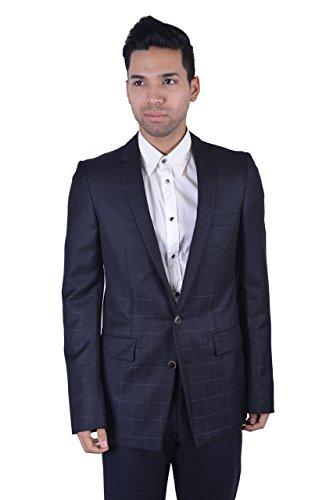 Gianni Versace Wool Silk Black Two Button Men