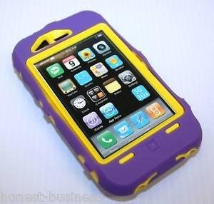 Purple/Yellow Iphone Super Case 3G, 3GS - Soft Purple Silicone Over Yellow Hard Case